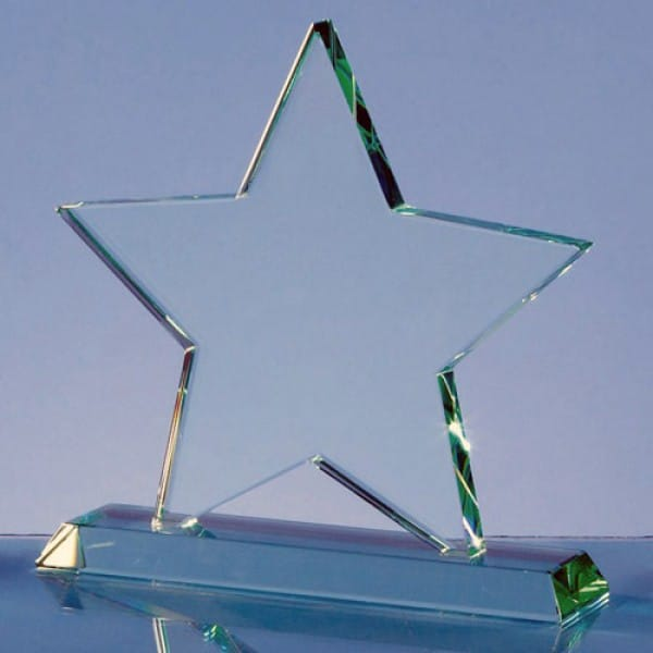 Jade glass star on base