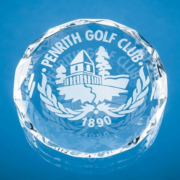 8cm Optical Crystal Facet Circle Paperweight 1
