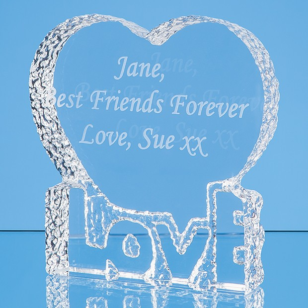 10cm Optical Crystal 'Love' Heart Paperweight