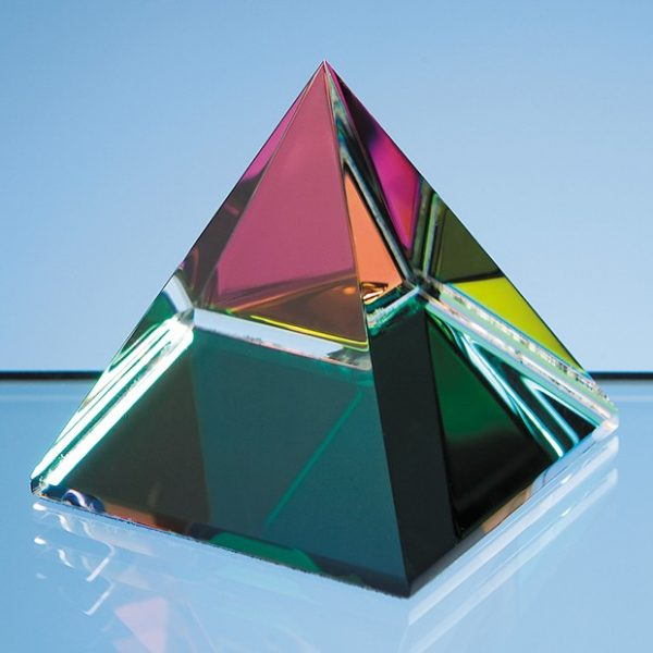 5cm Coloured Optical Crystal 4 Sided Pyramid 1