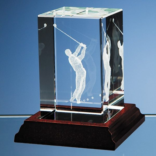 3D Driving Golfer in Optical Crystal Block 1