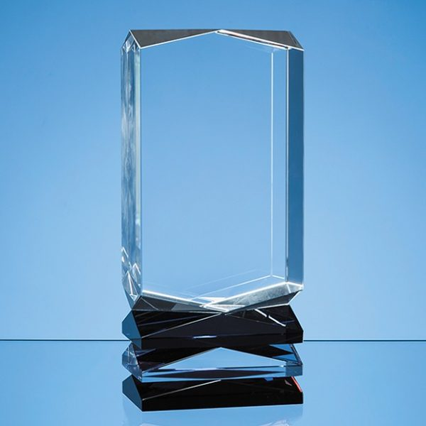 23cm Nik Meller Design Clear Optical Crystal, Cobalt Blue & Red Covet Column Award 1