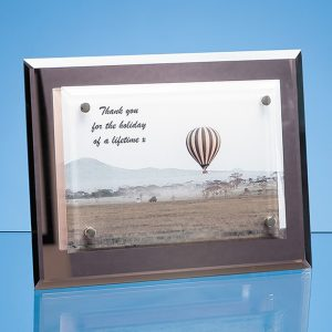 17.5cm x 23cm Mirrored Desk Plaque with Mounted Clear Rectangle, H or V