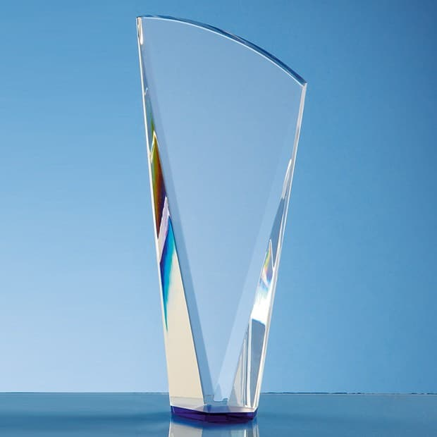 21cm Clear Optical Crystal Facet Shard Award with a Sapphire Blue Base