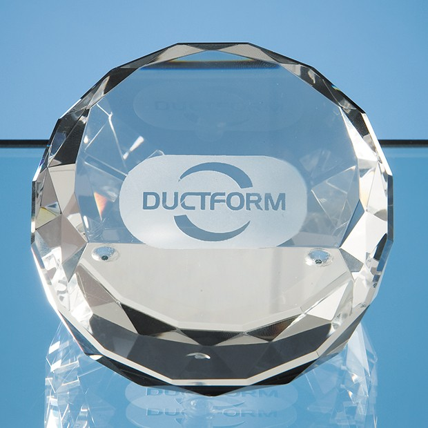 7.5cm Optical Crystal Sliced Wedge Paperweight