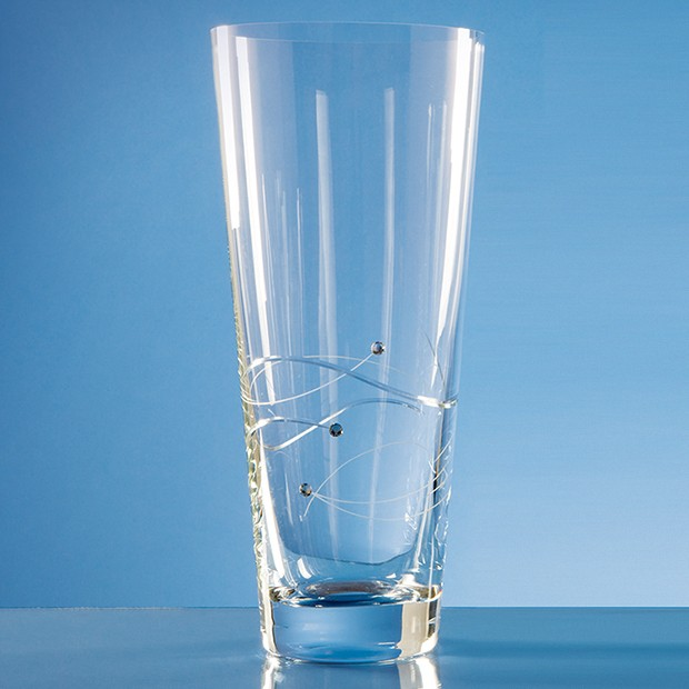 Diamante Conical Vase with Spiral Design Cutting
