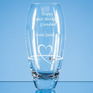 18cm Diamante Petit Vase with Heart Design in an attractive Gift Box