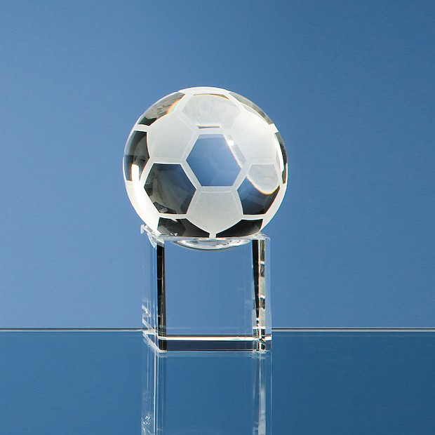 5cm Optical Crystal Football on a Clear Crystal Base