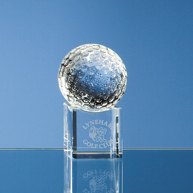 5cm Optical Crystal Golf Ball on a Clear Crystal Base