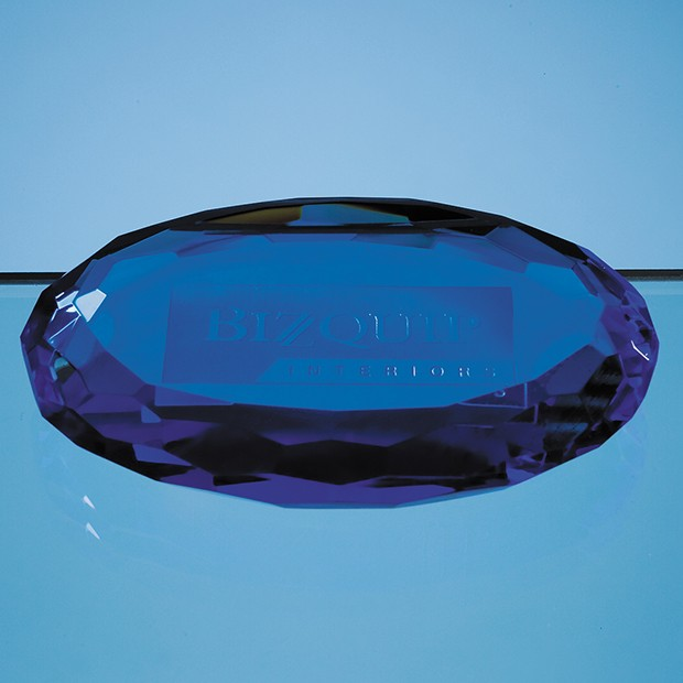 10cm Sapphire Blue Optic Oval Facet Paperweight