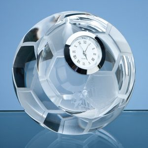 8cm Optical Crystal Football with Clock