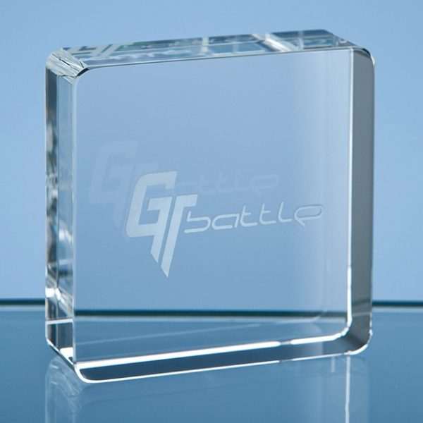 6cm Optical Crystal Square Paperweight 1