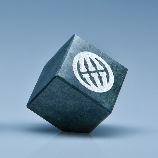 5cm Green Marble Bevel Edged Cube*