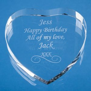 8cm Optical Crystal Clear Heart Paperweight