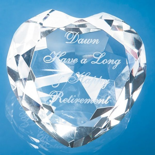 8cm Optical Crystal Clear Facet Heart Paperweight 1