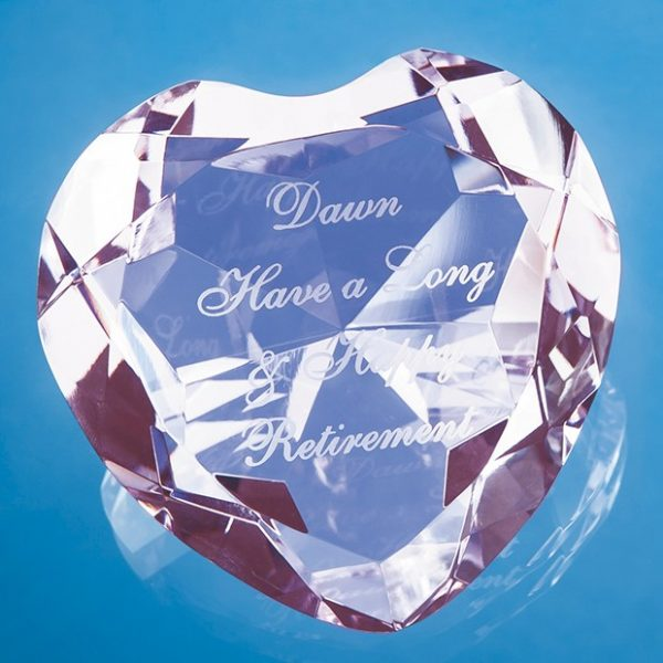 8cm Optical Crystal Pink Facet Heart Paperweight 1