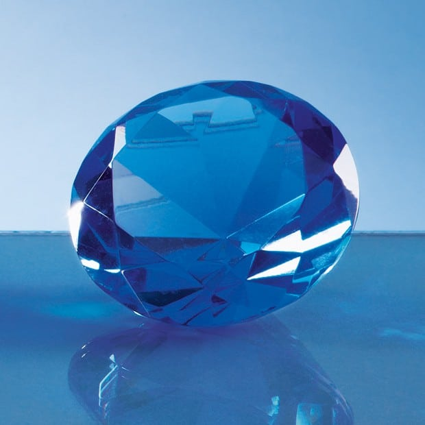 6cm Optical Crystal Blue Diamond Paperweight
