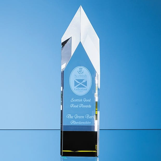 23cm Clear & Emerald Green Optical Crystal Pointed Monolith Award