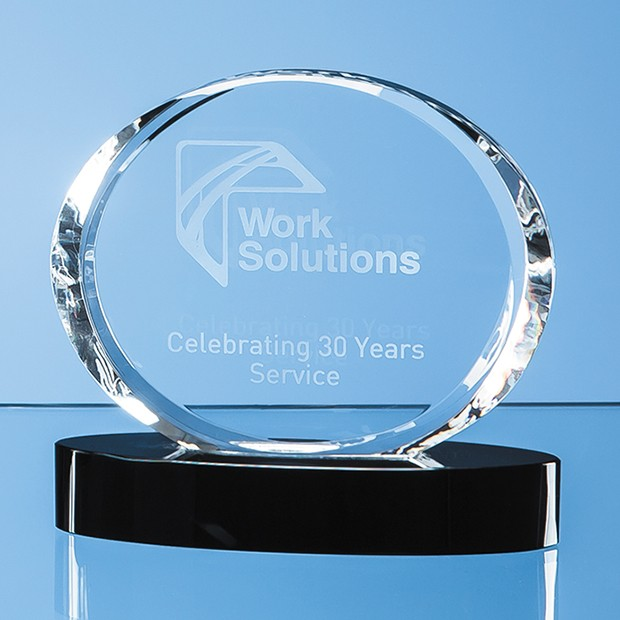 12cm Optical Crystal Oval Award mounted on an Onyx Black Base