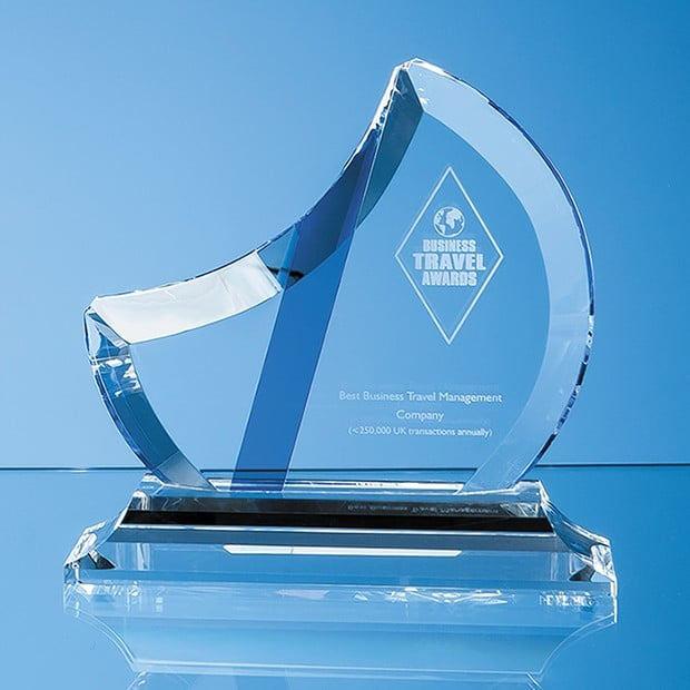 16cm Optical Crystal Eclipse Award with Sapphire Blue Flash