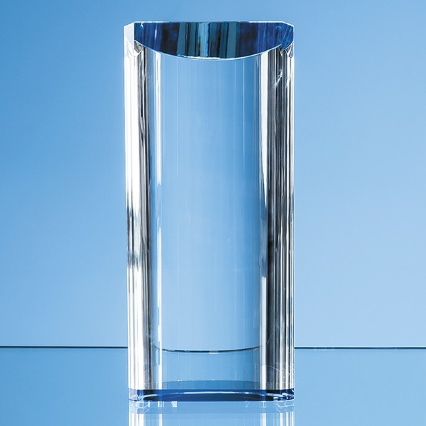 13.5cm Optical Crystal Semi Circular Cylinder with a Cobalt Blue Base