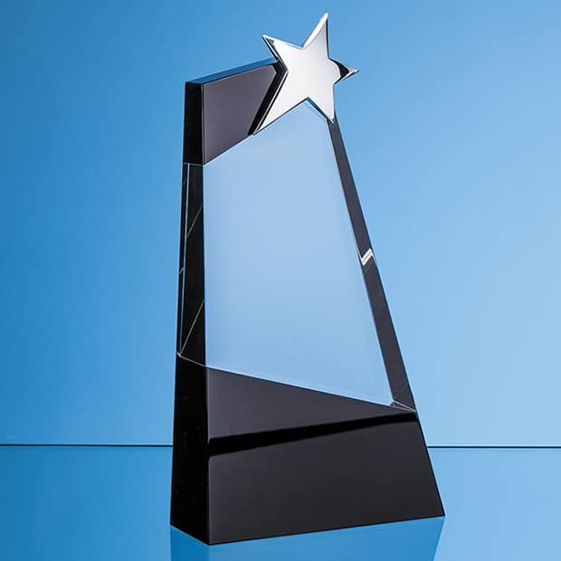 26cm Clear & Onyx Black Optical Crystal Slope Award with Silver Star