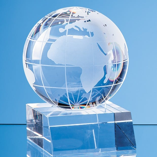 5cm Optical Crystal Globe Mounted on a Clear Crystal Base