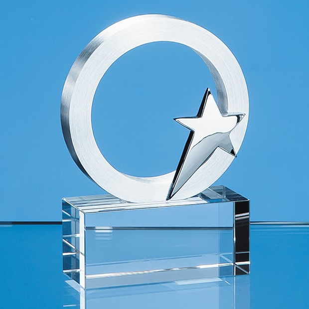 7.5cm Silver Star & Circle on an Optical Crystal Base