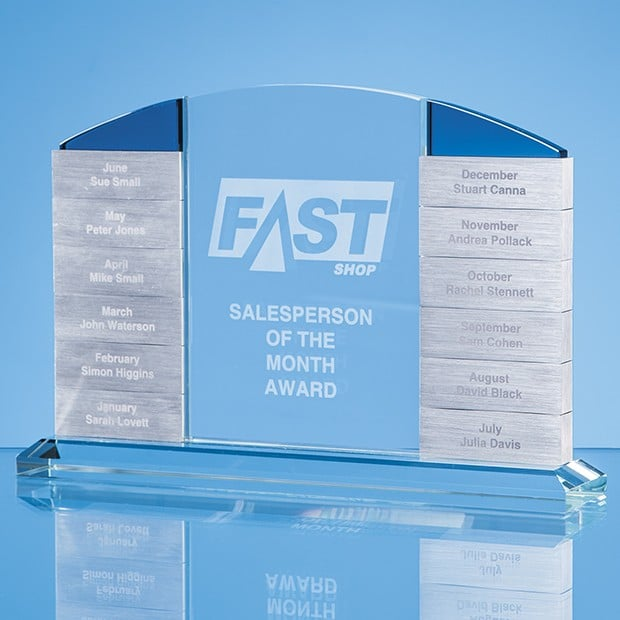 15cm x 22.5cm x 10mm Clear Glass 'Monthly' Arch Award with 12 x Winners Plaques